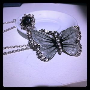 Jewelry - NEW!Set:Butterfly Necklace&Glamorous Matching Ring